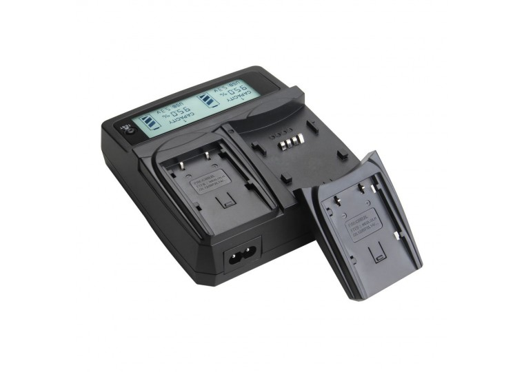 Dual Charger for NP-FW50 NP-F970 NP-W126 FZ-100 LE-E6 Li-ion Batteries with LCD Screen