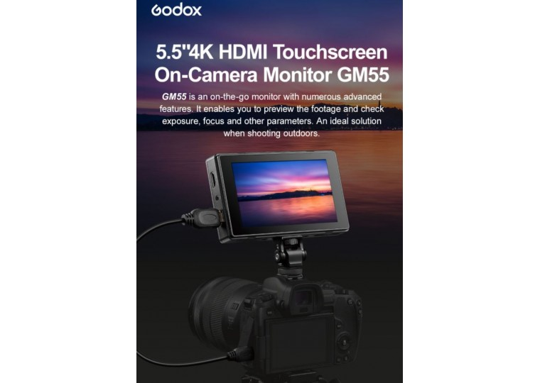 "Godox GM55 5.5"" 4K HDMI Touchscreen On-Camera Monitor"