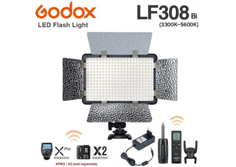 Godox LF-308Bi LED Video Light with Flash Sync