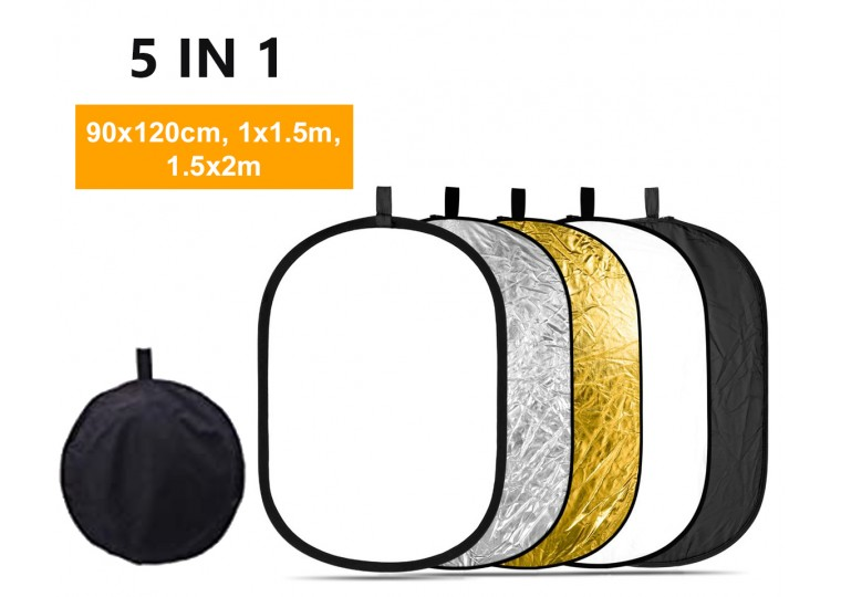 90x120cm 1x1.5m 1.5x2m 5-in-1 Collapsible Oval Reflector