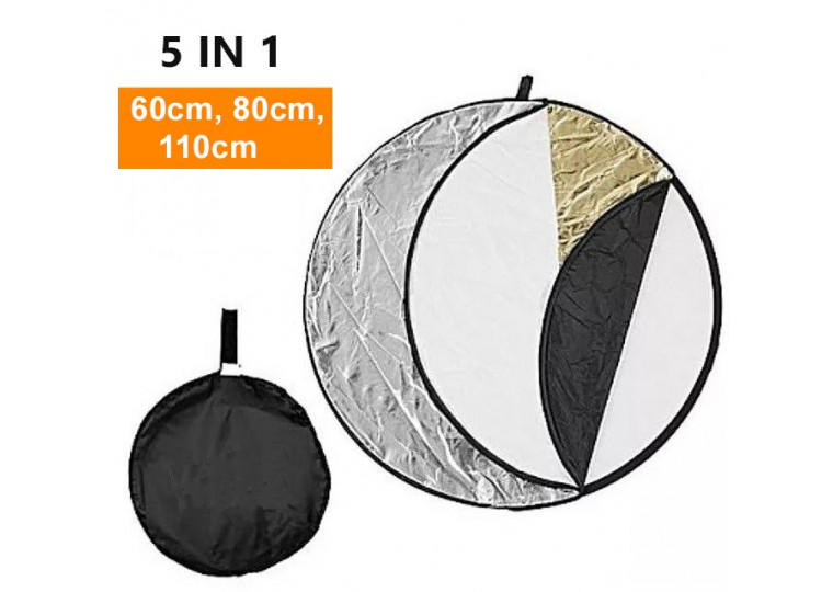 60cm 80cm 110cm 5-in-1 Collapsible Round Reflector