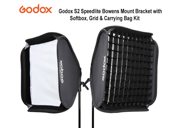 Godox S2 Speedlite Bowens Mount Bracket with Softbox, Grid and Carrying Bag Kit