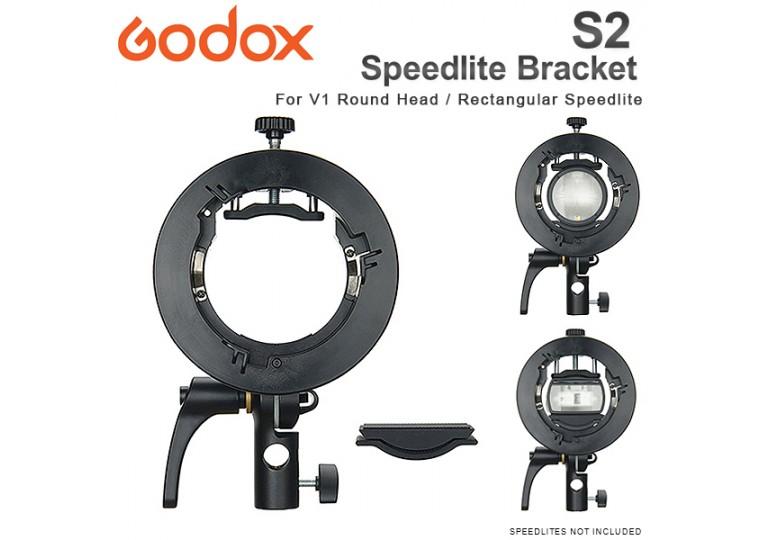 Godox S2 Speedlite Bracket for V1, AD200Pro, AD400Pro, V860II, TT685, TT350 flashes