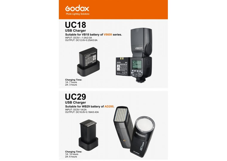 Godox UC18 UC29 USB Charger for VB18 WB29 Battery